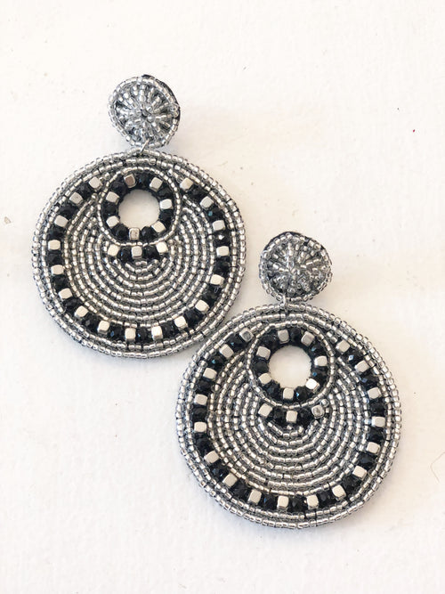 Seed Bead Statement Earrings - Silver/Black