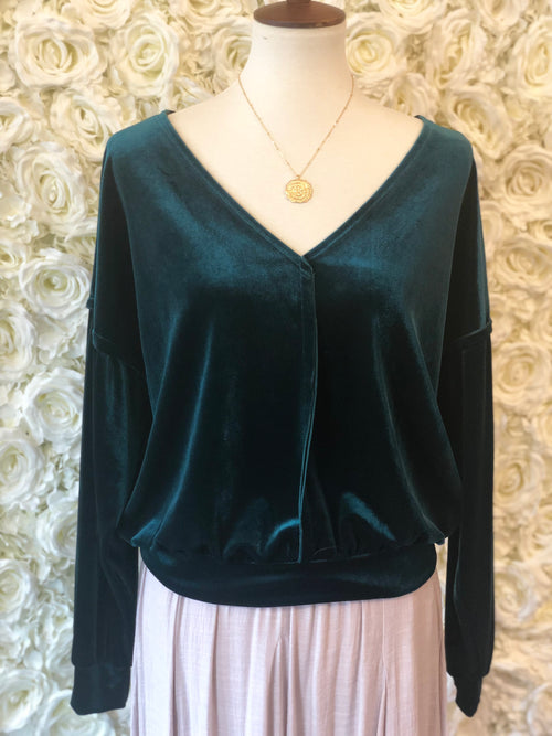 Velvet V- Neck Top - Emerald