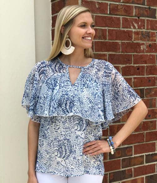 Woven Top | Blue Bird