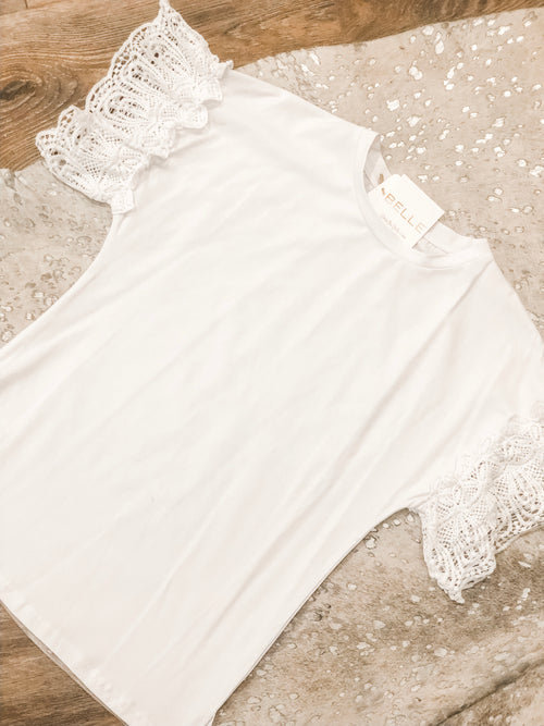 Lace Sleeve Top | White