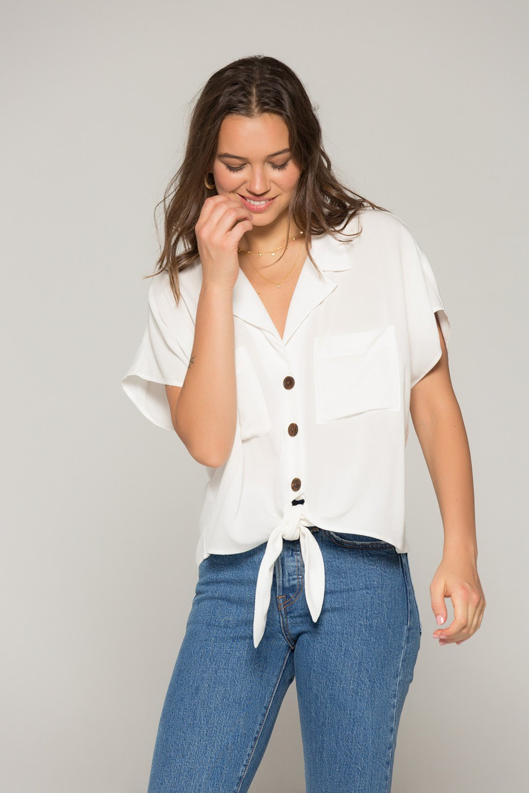 Krissy Tie Front Top | White