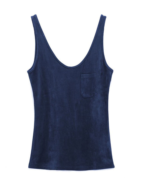 Carolina Vegan Suede Tank | Navy