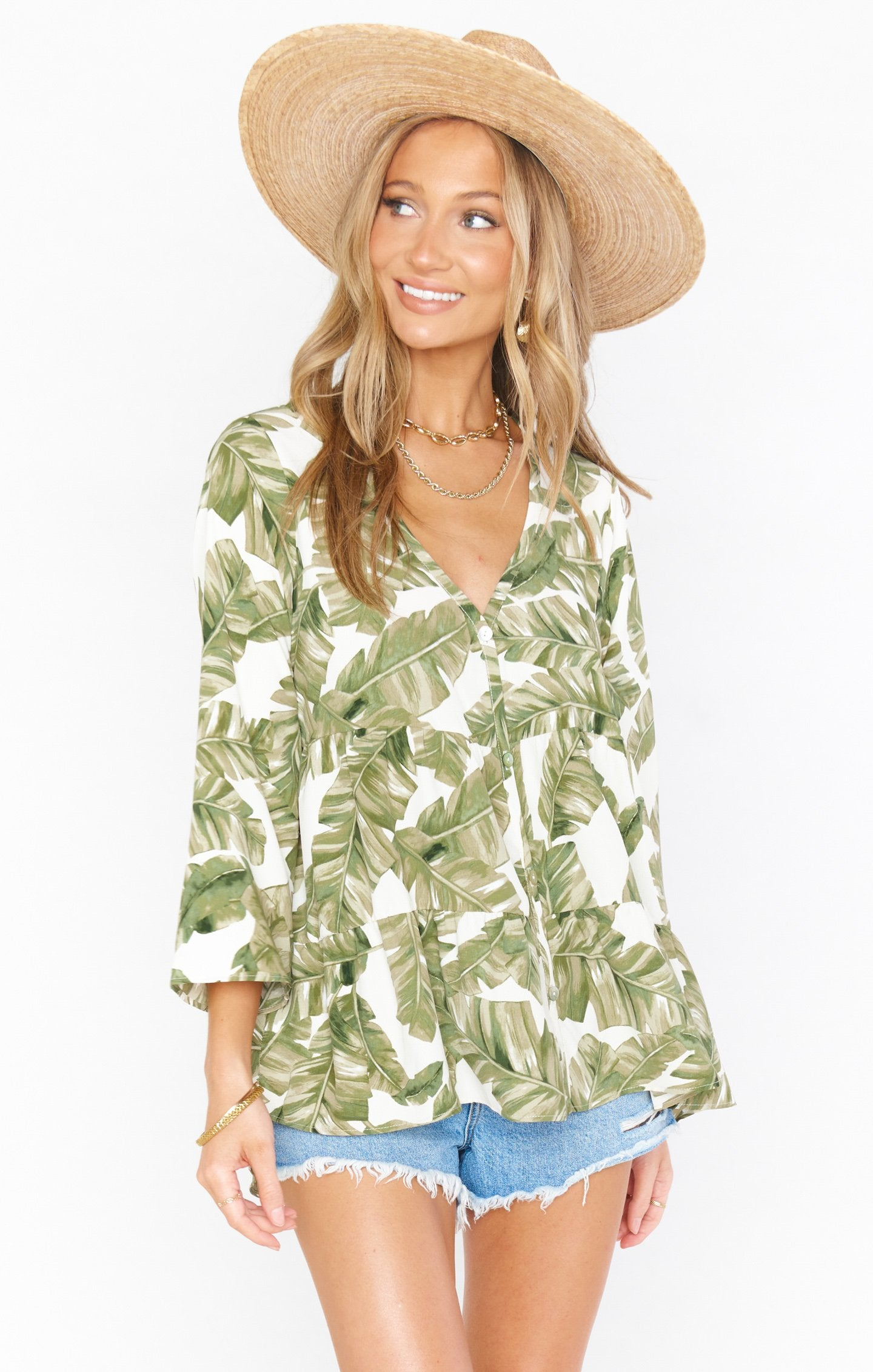 Marlow Swing Top | Green Majestic Palm