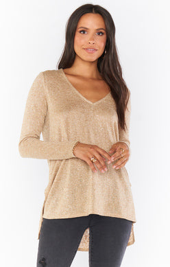 Clark Tunic Top | Gold Sparkle Knit