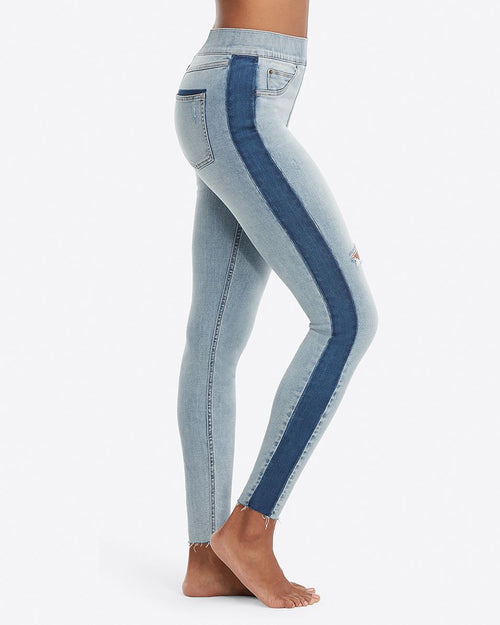 Distressed Skinny Jeans with Side Stripe