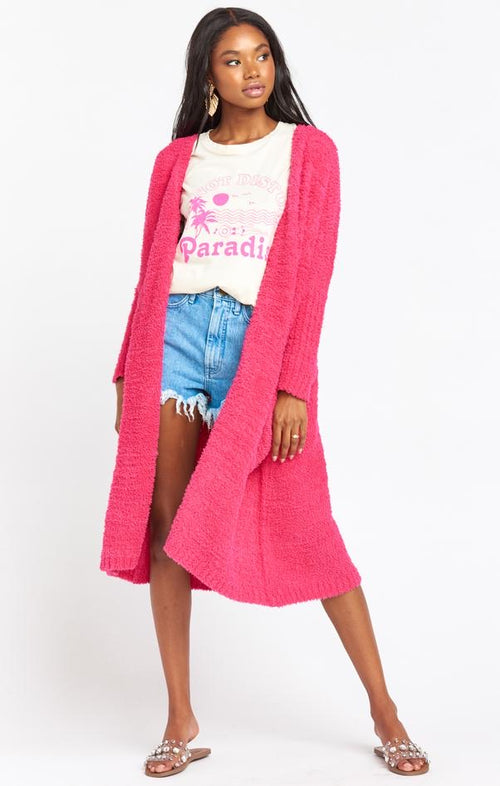Clayton Cardigan | Shocking Pink Knit