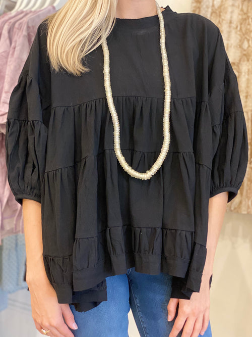 Cotton Tiered Top | Black