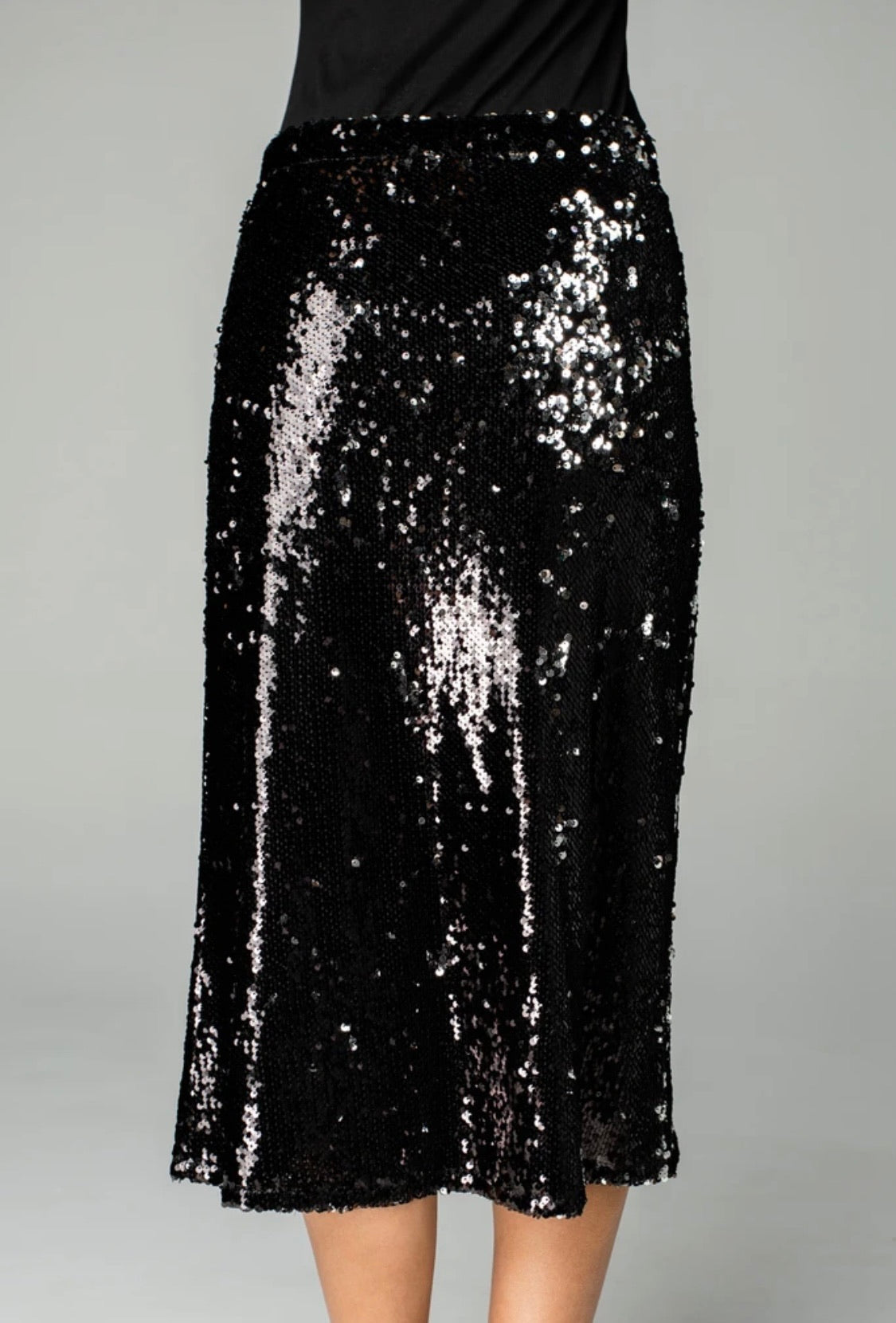 Sequin MIDI Skirt | Black