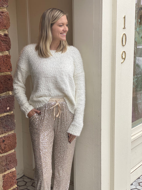 Sequin Banded Pant | Champagne