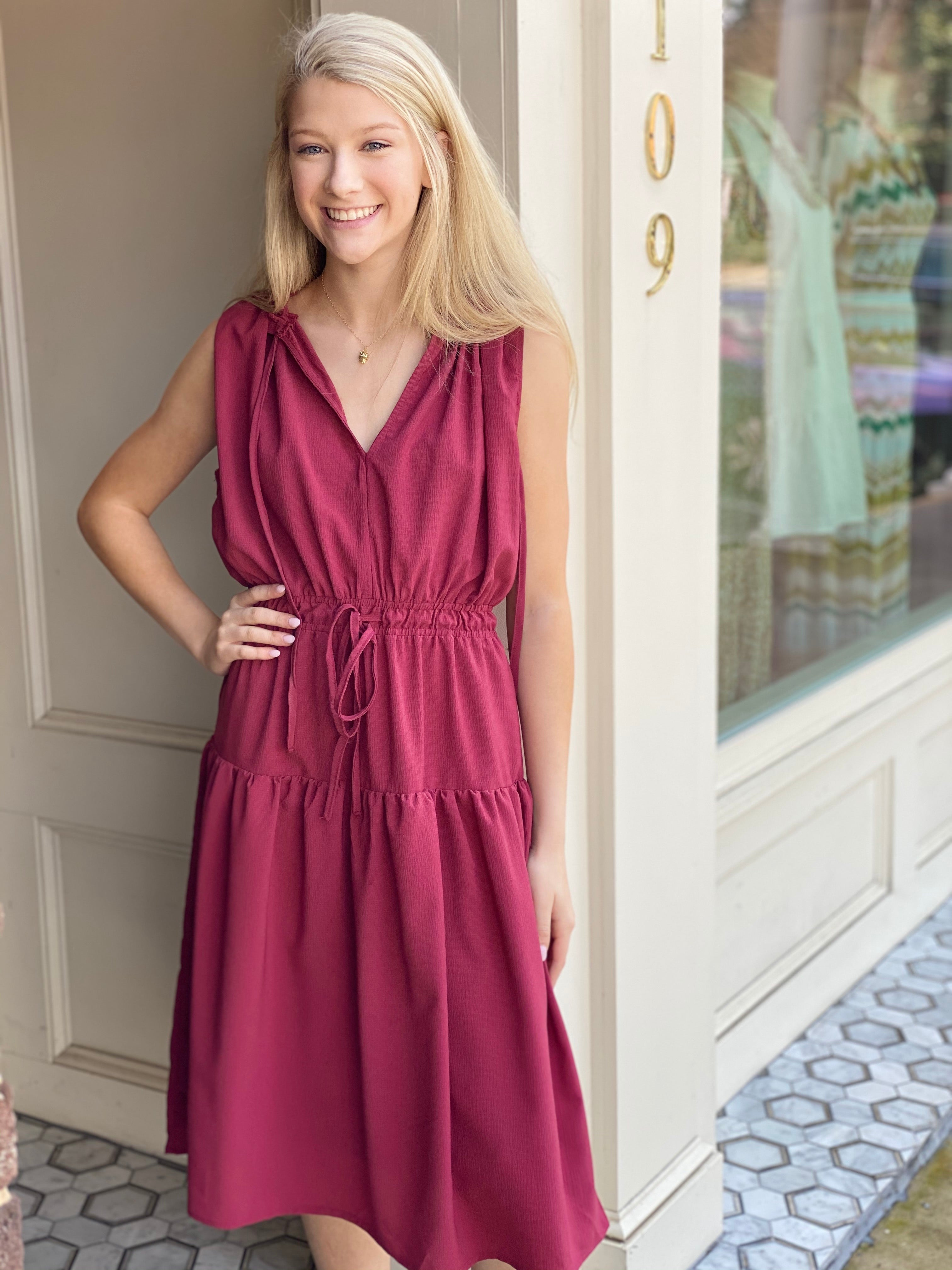 Drawstring Midi Sleeveless Dress | Burgundy