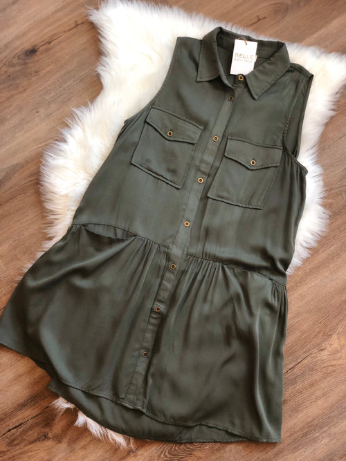 Sleeveless Military Tunic Dress