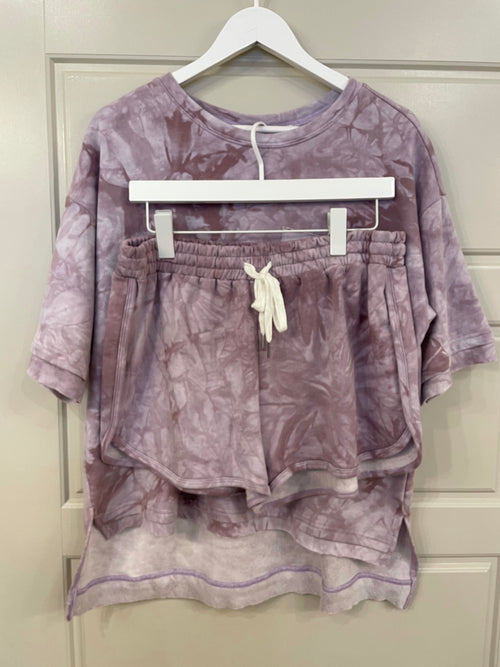 French Terry Top + Shorts Set | Tie Dye Lavender