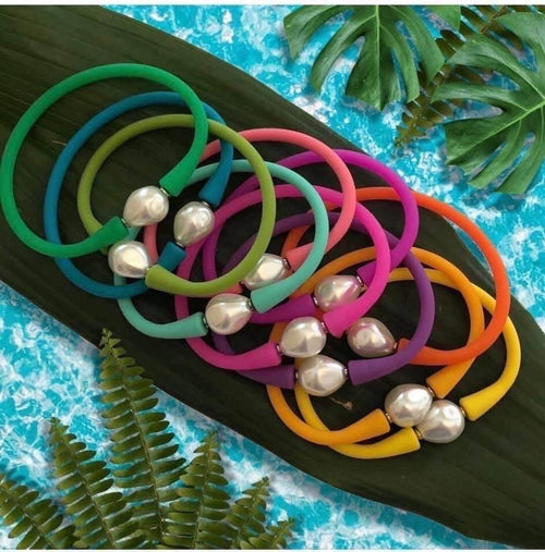 Baroque Pearl Silicone Bracelet | Multiple Colors