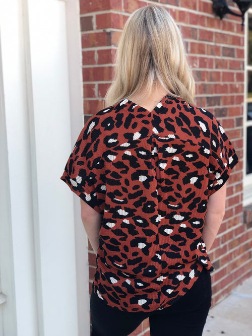 Leopard V Neck | Rust