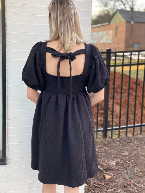 Puff Sleeve Dress | Black