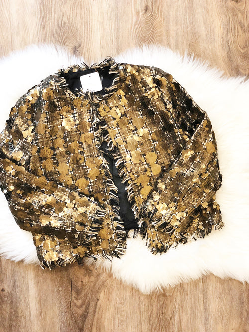 Sequin Tweed Crop Jacket - Gold