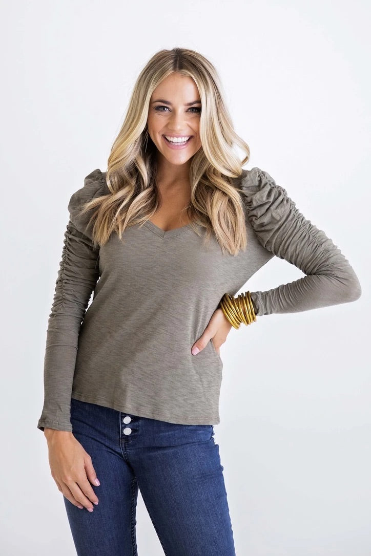 VNeck Slub Puff Sleeve Top | Olive