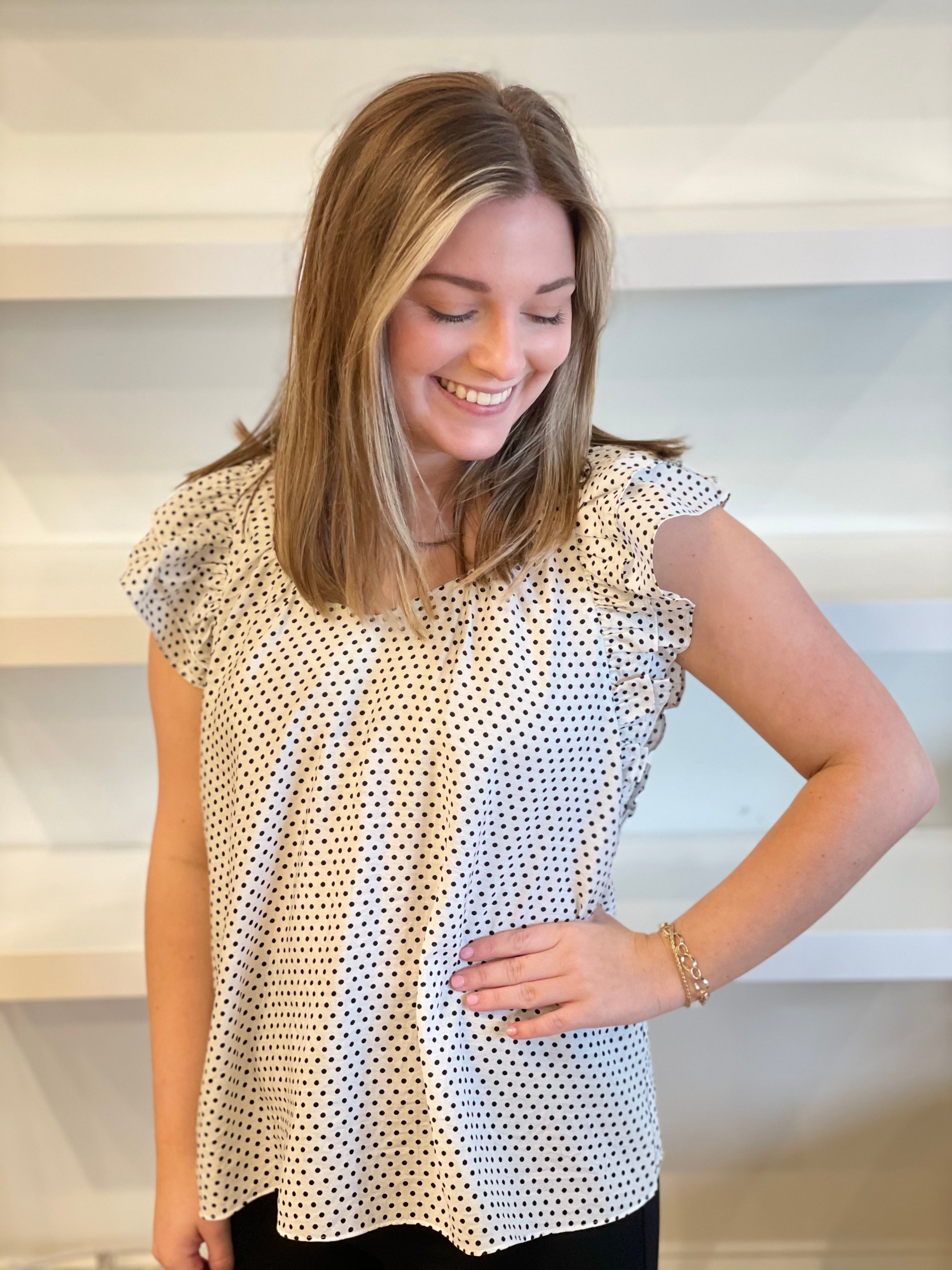 Spotted Ruffle Top