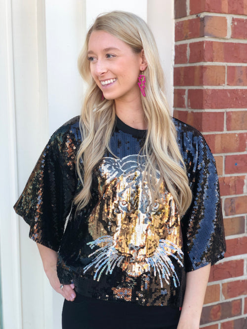 Sequin Tiger Top | Black