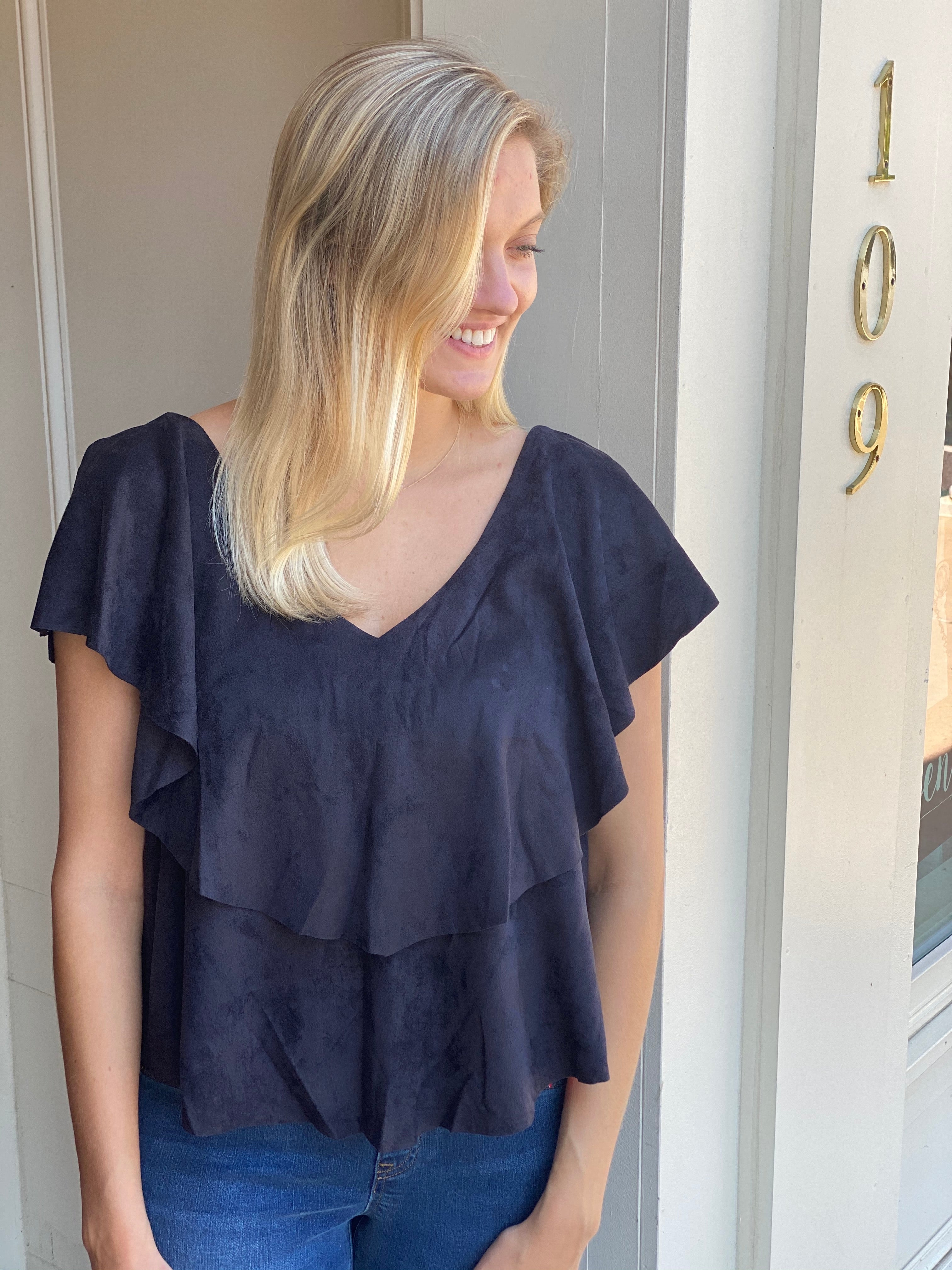 Suede Midnight Top