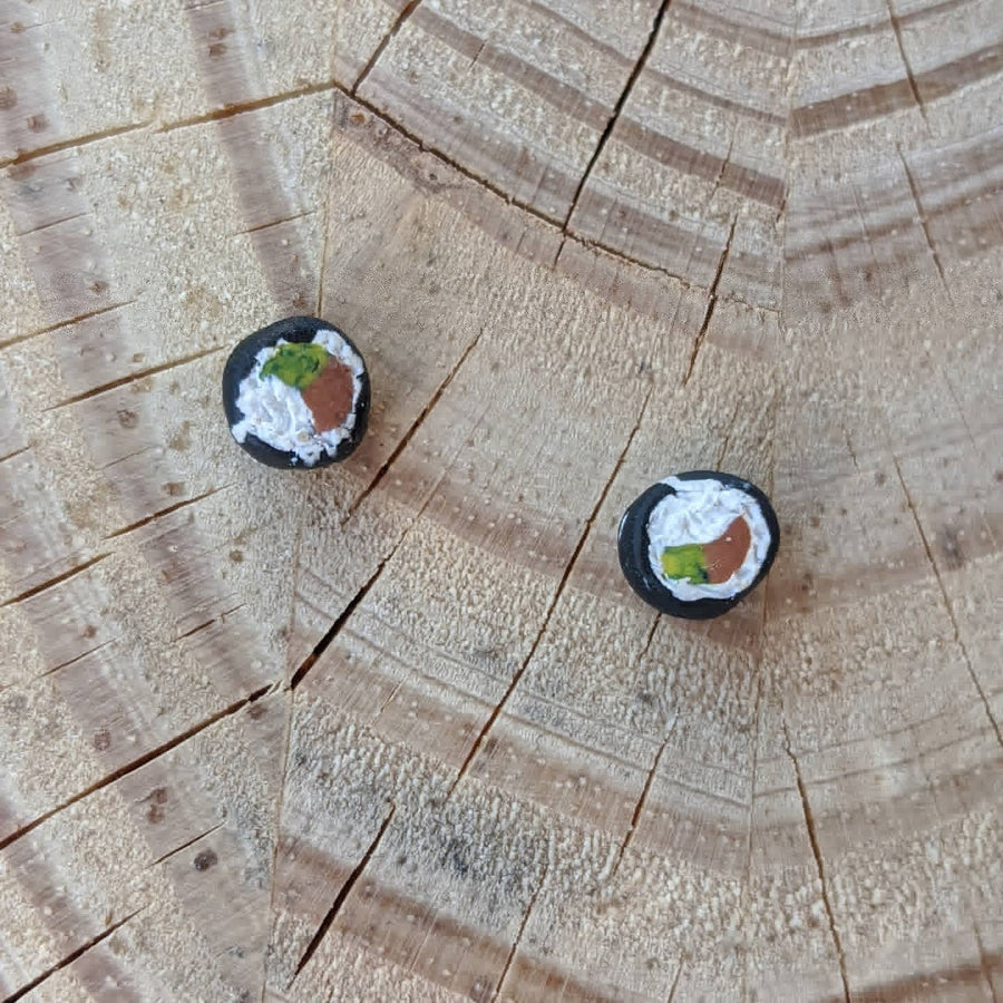 Handmade Spicy Tuna Roll Sushi Earrings by Afton & Isobel