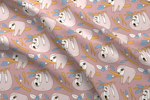 spoonflower sloth fabric by Noristudio