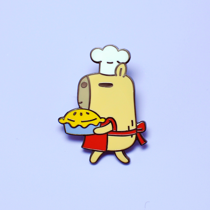 Moonch the Capybara Pie Baking Enamel Pin by Noristudio