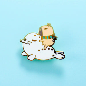 bubu and moonch, capybara and seal lapel pin by Noristudio