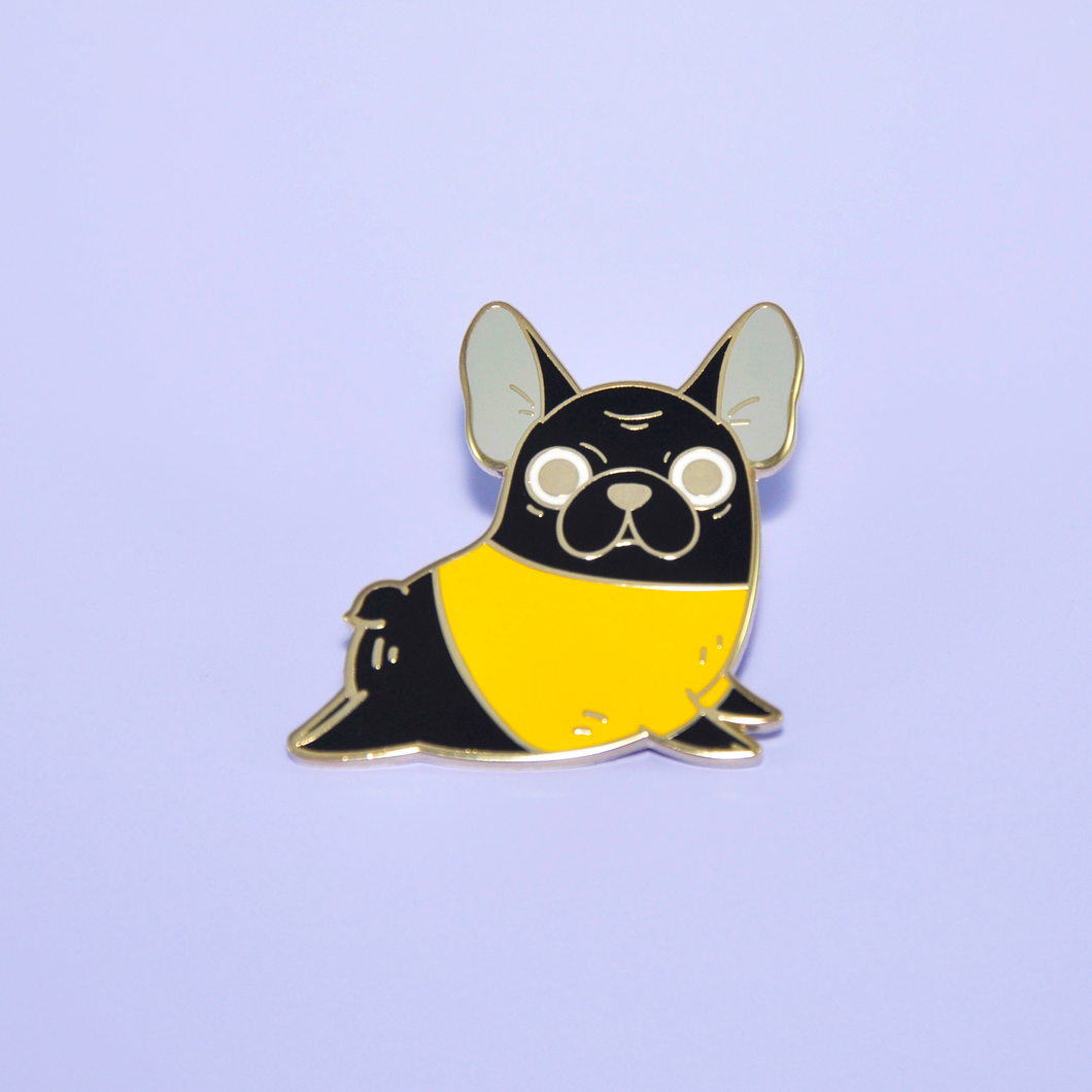 French Bulldog Enamel Pin, Black