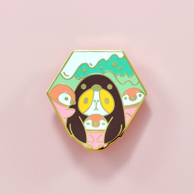 Bubu the Guinea Pig Penguin with Baby Penguins Enamel Pin by Noristudio