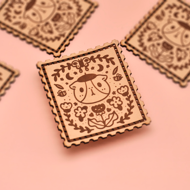 Bubu and Flowers Stamp Shape Laser Cut Leather Patch, Sew On Patch