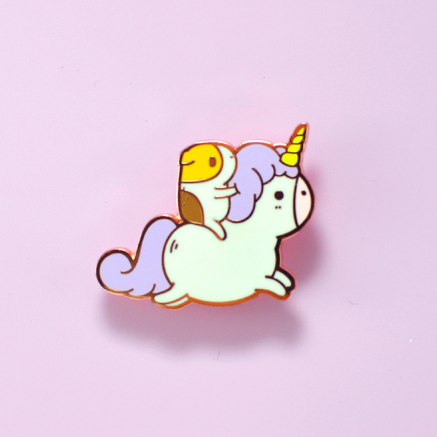 Bubu the Guinea Pig with Unicorn Enamel Pin, Copper plated 1