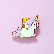 Bubu the Guinea Pig with Unicorn Enamel Pin by Noristudio