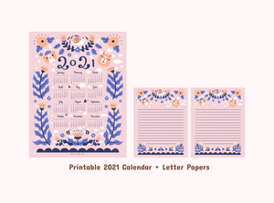 Noristudio Bubu and Moonch 2021 Calendar and Letter papers set