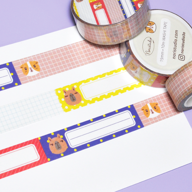 bubu and moonch washi tape, planner decoration