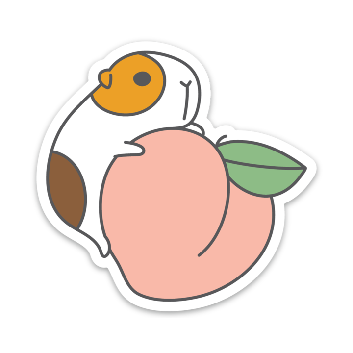 G-U-I-N-E-A Pig and Peach Vinyl Sticker