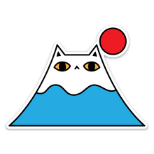 Mount Fuji Cat Vinyl Sticker
