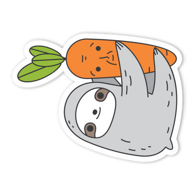 Sloth and Carrot Vinyl Sticker