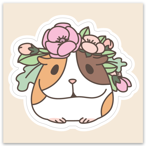 G-U-I-N-E-A Pig and Flowers Vinyl Sticker