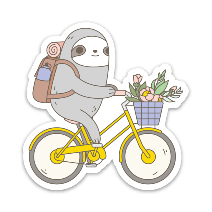 Biking Sloth Vinyl Sticker