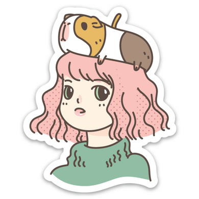 Guinea Pig Lady Vinyl Sticker