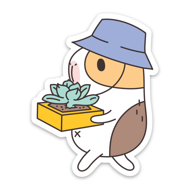 Bubu the Guinea Pig Succulent Gardener Vinyl Sticker by Noristudio