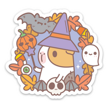 Bubu the Guinea Pig Witchy Halloween Wreath Vinyl Sticker by Noristudio