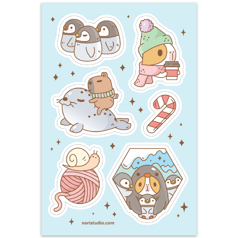 Bubu and Moonch South Pole Holiday sticker sheet by Noristudio