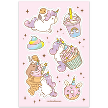 unicorn sticker sheet by Noristudio Bubu and Moonch Unicorn Party