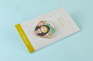 cute Guinea pig with penguins enamel pin by Noristudio