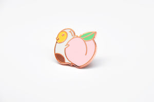 Guinea pig and peach enamel pin by Noristudio