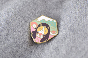 cute penguin lapel pin by Noristudio