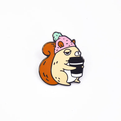Coffee Addict Squirrel Enamel Pin, Pink