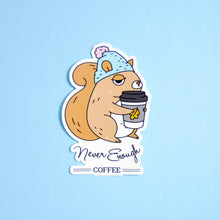 coffee lover squirrel vinyl sticker by Noristudio